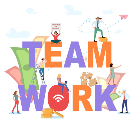 Sketch of working little people with big word Teamwork. Doodle cute miniature scene of workers. Vector illustration for business design and infographic.