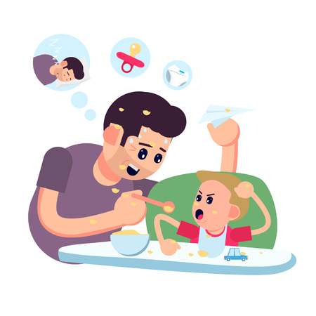 Father feeding his baby son sitting on kids eating chair. Holding hands with spoon going to mouth. Modern flat style vector illustration cartoon clipart. 矢量图像