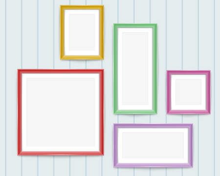 Set of colorful wooden frames. Frames of colorful set for your web design. Colorful picture or photos frames. Vector set of color photo frames on the wall.