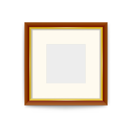 Gold with wood photo frame. Easily change the size of the frame. Its easy to change the color of the frame. Vector design ornaments.