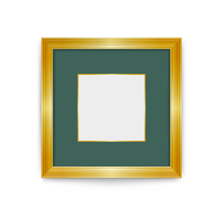 Gold frame with green passe part out. Easily change the size of the frame. It's easy to change the color of the frame vector design ornaments.