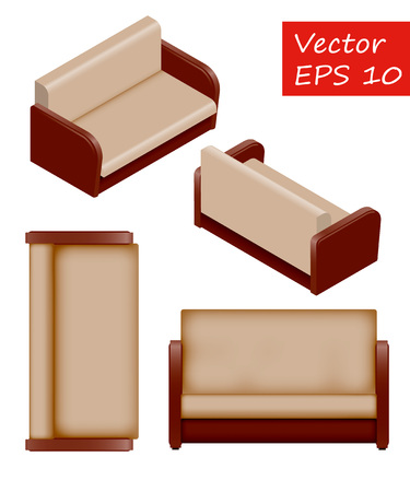 Set of isolated isometric sofa. Vector sofa. It's easy to change the color of the sofa. Sofa for interior. View top, view front, isometric view.