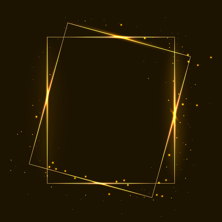 Vector golden frame with lights effects. Shining rectangle banner. Isolated on dark background. Vector illustration, eps 10.