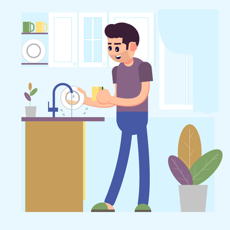 Man washing dirty dishes plates in a sink in the kitchen. Vector 矢量图像