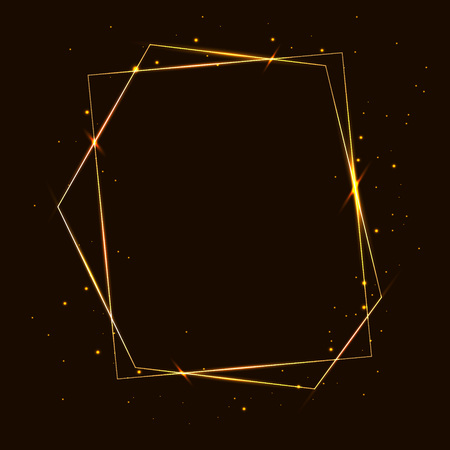 Vector golden frame with effects of light. Shining polygons. On a dark background. Vector illustration.