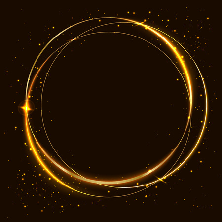 Vector golden frame with effects of light. Shining circles. On a dark background. EPS 10.