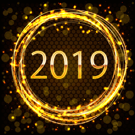 2019 gouden Nieuwjaarsteken in gouden ring met gouden Glitters op donkere achtergrond. Vector Nieuwjaar illustratie. Stockfoto - 102056079