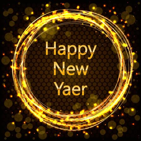 Golden New Year sign inside golden ring with golden glitter on dark background. Vector New Year illustration. 矢量图像