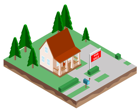Buying a new home. The house for sale. Vector illustration in a isometric style.