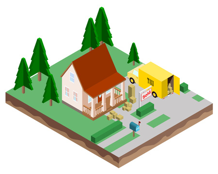 Buying a new home. The house is sold. Moving to a new house. Vector illustration in isometric style.