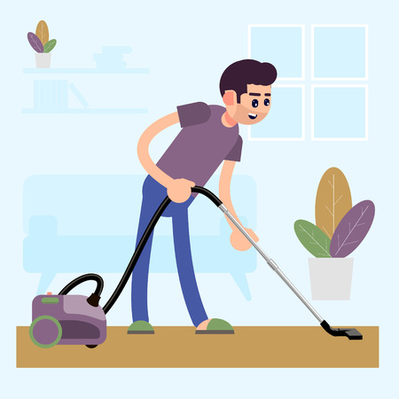 The man is vacuuming the carpet in the house. Cleaning the house. Flat style. Vector illustration. 矢量图像