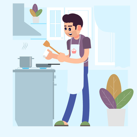 A man is cooking at home. Salt the dish. Flat style. Vector illustration.