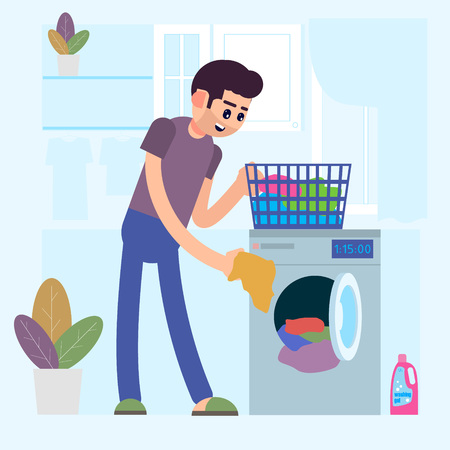 A man is washing clothes. Loading the washing machine with dirty laundry. Vector illustration