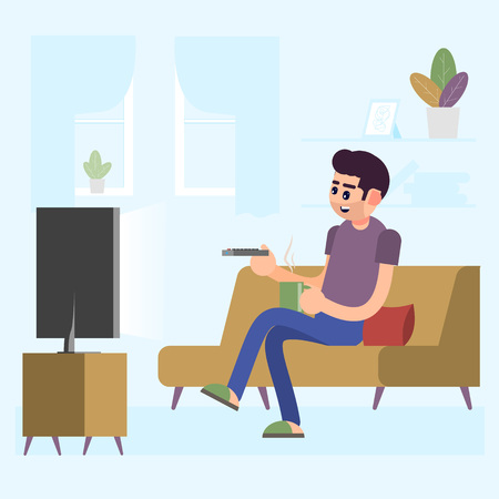 Man watching TV and drinking coffee on sofa in home room interior vector illustration. Man on sofa watch tv, illustration of male in room with tv screen
