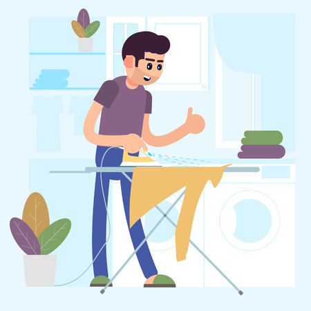 Young smiling man ironing clothes on ironing board, house husband working at home. Laundry. Vector Illustration.