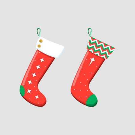 Christmas stockings red green colors. Hanging holiday decorations for gifts.