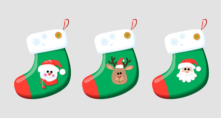 Christmas socks for gifts. Christmas socks with images of snowman, Santa, very. Illustration
