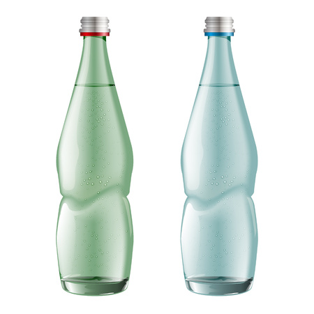 Glass water bottles isolated on white background, vector. It is easy to change the color of the bottle.