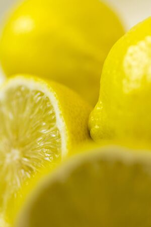 Sliced lemon on white background.