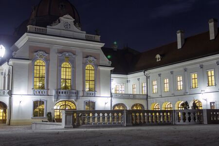 The Royal Palace of Godollo on a winter night.