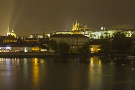 The Prague Castle with the St. Vitus Cathedral by night.