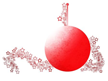 Simply Styled Elegant Christmas Ornament with Festive Red Ball over White Background Stock Photo - 5800647