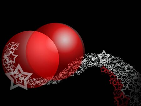 Christmas Fantasy Elegant Abstract Ornament With Two Big Red Balls And Lacy Stars Over Deep Black Background Stock Photo - 5807666
