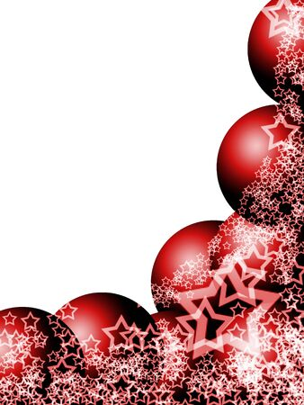 ecard: Elegant Christmas Corner with Red Balls and Lacy Stars over White Background Stock Photo