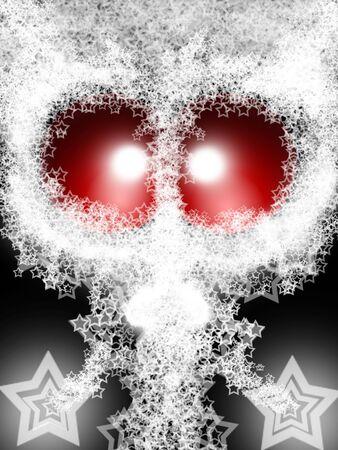 ufology: Alien di Santa Natale da UFO con bianco Beard Starry Lacy Original Decorative illustrazione  Archivio Fotografico