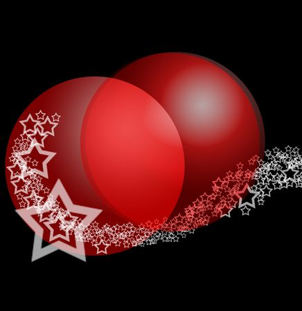 Christmas Festive Bright Background with Red Ruby Balls Baubles in White Starry Lace Stock Photo - 5830488