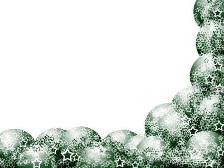 Elegant Christmas-Corner-Frame mit Green Brosche-Balls und Lacy Stars über leere weißer Hintergrund