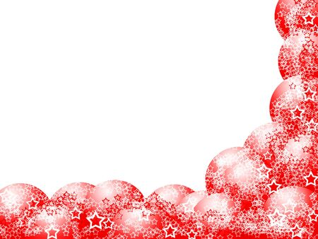 ecard: Elegant Christmas Corner Frame with Red Balls and Lacy Stars over Blank White Background