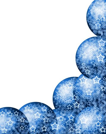 Elegant Beautiful Christmas Blue Corner Frame with Festive Bauble Balls and Lacy White Stars over Blank White Background Stock Photo - 5892977