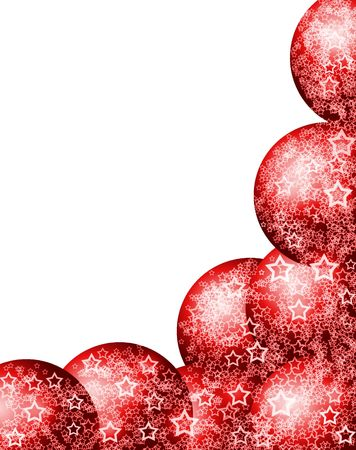 Elegant Beautiful Christmas Red Corner Frame with Festive Bauble Balls and Lacy White Stars over Blank White Background Stock Photo