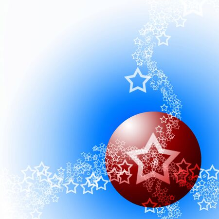 Festive Abstract Elegant Ornament Cold Theme with Red Bauble Ball and White Lacy Stars photo