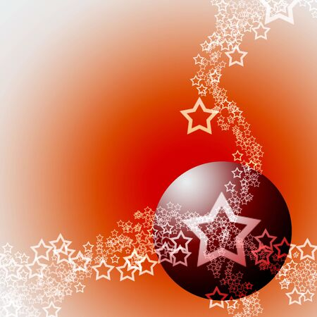 ecard: Festive Abstract Elegant Ornament Hot Theme with Red Bauble Ball and White Lacy Stars Stock Photo