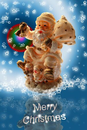 Merry Christmas Greeting Card with Santa Claus, Lacy Starry Snowflakes and Cold Icy Blue Background photo