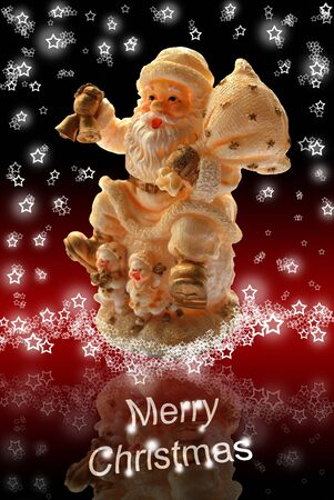Merry Christmas Greeting Card with Santa Claus Toy Statuette, Lacy Starry Snowflakes and Black Red Background Stock Photo - 5952696