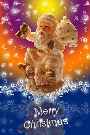 ecard: Auguri di Natale allegro con Babbo Toy statuetta, Lacy Snowflakes Starry e sfondo multicolore