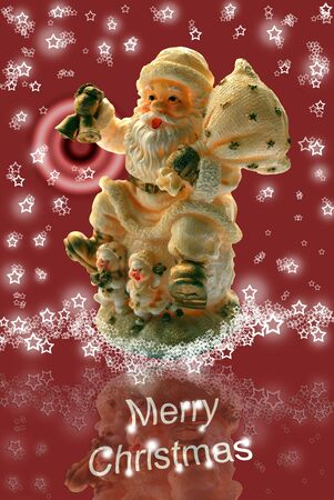 Merry Christmas Greeting Card with Santa Claus Statuette, Lacy Starry Snowflakes and Red Background photo