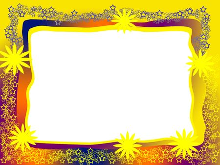 Bright Decorative Frame with Yellow Flowers Lacy Stars and Blank White Background Stock Photo - 6029401