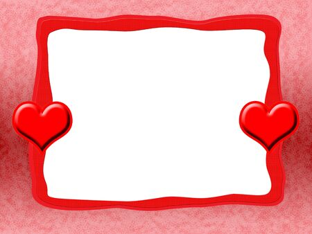 Elegant Romantic Love Frame with Red Hearts and Blank White Background Stock Photo - 6227345
