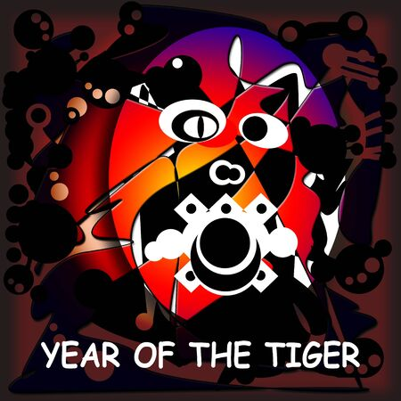 Abstract Illustration with a Tiger To Chinese New Year Stock Illustration - 6285924
