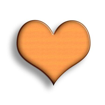 Wooden Heart Symbol Illustration over White Background Stock Illustration - 6339918