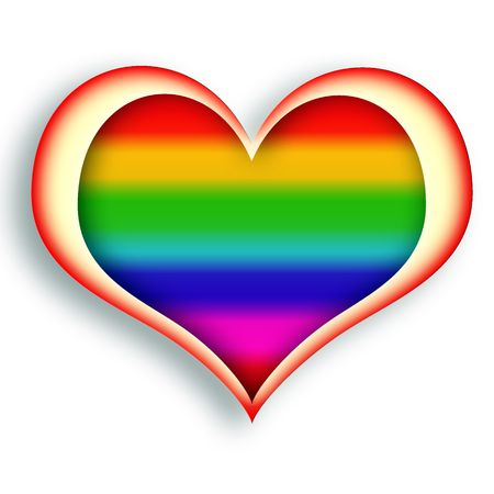 Multicolored glowing heart symbol over white background photo