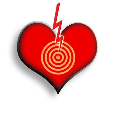 Red Heart Symbol with Target Point and Electric Thunder Symbol over White Background photo