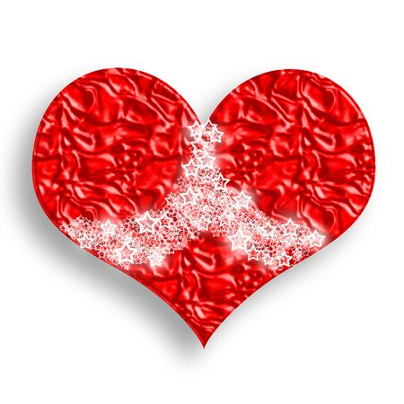 Wrinkled Red Heart with Bright Lacy Stars Symbolic Illustration over White Background Stock Illustration - 6339943