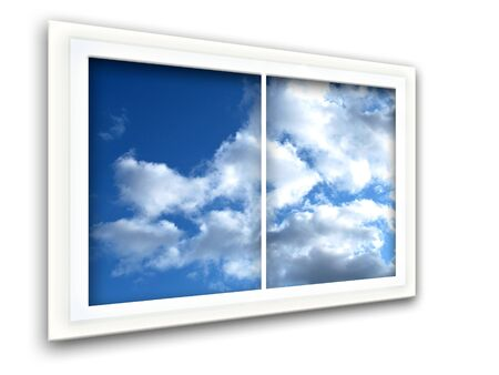 window view: Window view in perspective to blue sky with white clouds Stock Photo