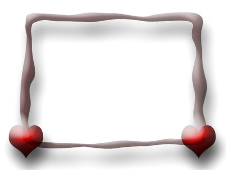 Slim Love Frame with two Hearts over white background photo