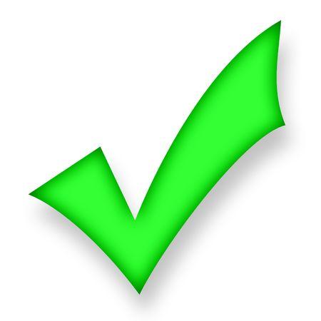confirmacion: S�mbolo verde el�ctrico de confirmaci�n elevarse por encima del fondo blanco Foto de archivo